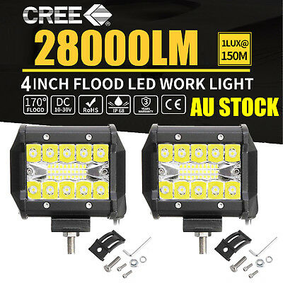 4 inch CREE LED Light Bar Spot Flood Driving Lamp Offroad 4WD 4x4 Truck JEEP SUV