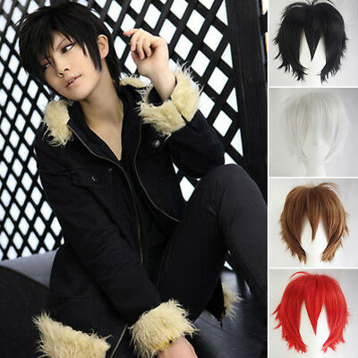 Women Anime Short Wig Cosplay Party Straight Hair Full Wigs UK