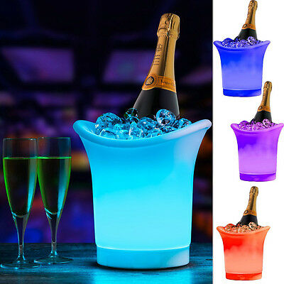 Colour Changing Rgb Led Ice Bucket Champagne Wine Drinks Cooler Pub Bar Party Uk