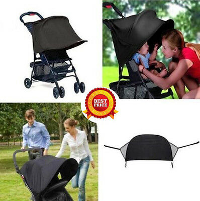 BABY SUN SHADE BLACK FOLDING POP UP UV CANOPY PARASOL HOOD for BUGGY or STROLLER