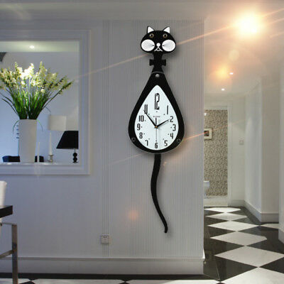 Wooden Wall Clock Cat Swinging Pendulum Tail Home Decor Gift Battery Operated UK