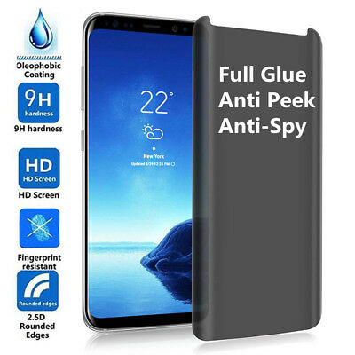 3D Anti-Spy Full Glue Tempered Glass Screen Film fr Samsung S8 S9 Plus Note8 lot