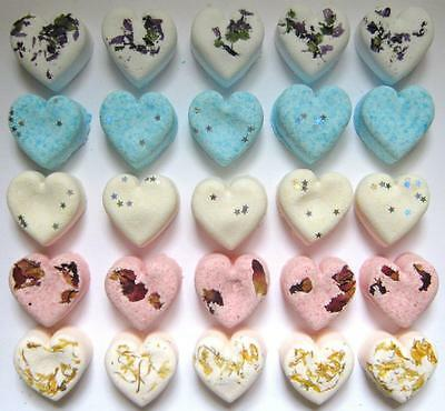 25 x HEART BATH BOMBS ASSORTED - HOME USE OR WEDDING