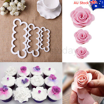 3x Cake Rose Mold Flower Cutter Fondant Icing Tool Suger Baking Decorating Mould