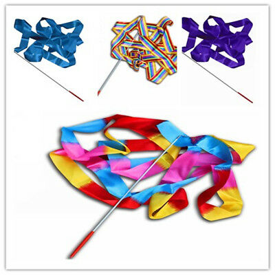 4M Dance Ribbon Gym Rhythmic Art Gymnastic Streamer Twirling Rod Stick Colorful