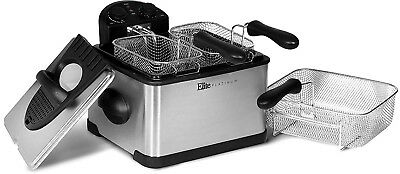 NEW Elitel Triple Basket Deep FRYER 4 LITER Stainless Steel Removable Pot and Pr