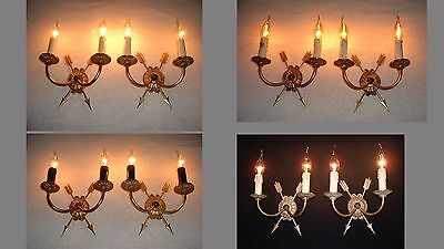 4 Vintage pair French Bronze Empire style sconces set France