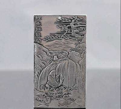 Chinese Collection Tibet Silver Hand Carved Chinese Zodiac & Koi Fish Pendant