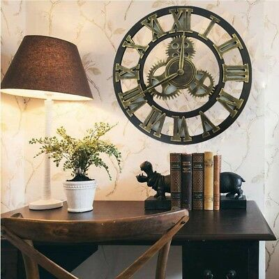 Outdoor Retro Clock Large Gold Roman Numeral Wall Clock for Garden 40cm 45cm