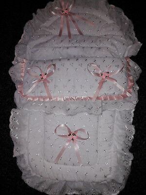 Babys Hand Decorated White B.a. Car Seat Cosy Toes