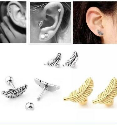 Surgical Steel Feather Piercing Barbell Tragus Ear Cartilage Helix Stud Earring