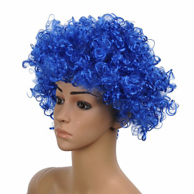 Party Disco Afro Clown Hair Football Fan Adult Halloween Costume Wig Funny