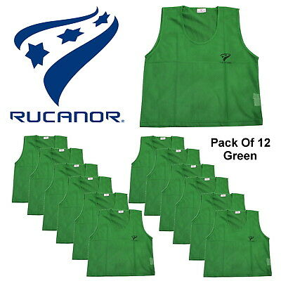 Rucanor Men's Green Training Bibs Team Sports Football Adults 12 Pack CLEARANCE
