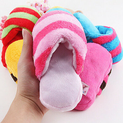 Dog Pet Puppy Play Toy Doggy  Play Squeaker Small Plush Slipper Shape 24cm ES