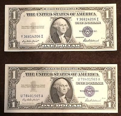 1935 AND 1957 (2 NOTES LOT) Silver Certificate Crisp AU+ CU condition FREE P/H