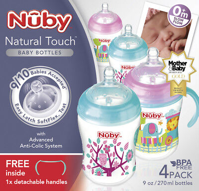 Nuby Natural Touch Decorated Bottles 270 ml, PinkAqua, Pack of 4