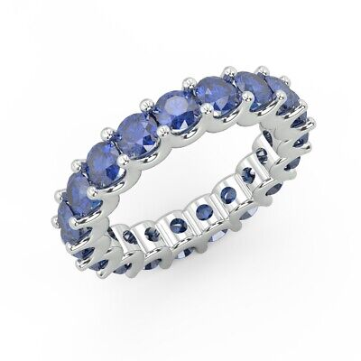 100% Natural 2.00Ct Round Sapphire Claw Set Full Eternity Ring in White Gold