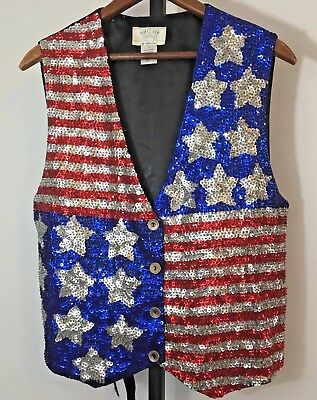 Vintage Sequined American Flag Vest and Hat Womens Sz L Red White Blue Patriotic