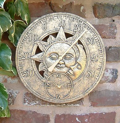 Outdoor indoor Garden Wall Station Clock thermometer 12 inch sun and moon ds1036