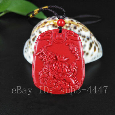 Chinese Red Organic Cinnabar Dragon Turtle Pendant Necklace Charm Jewelry Amulet