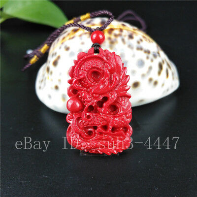 Chinese Red Organic Cinnabar Dragon Pendant Necklace Charm Jewelry Lucky Amulet