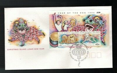 1994 Christmas Island  Year of The Dog  FDC Mini Sheet
