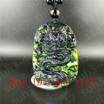 Certified Natural Black Green Jade Dragon Pendant Bead Necklace Jewelry Y1008