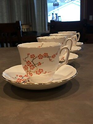 4 TEACUPS and Saucers CROWN STAFFORDSHIRE FINE BONE CHINA - Cherry Blossom