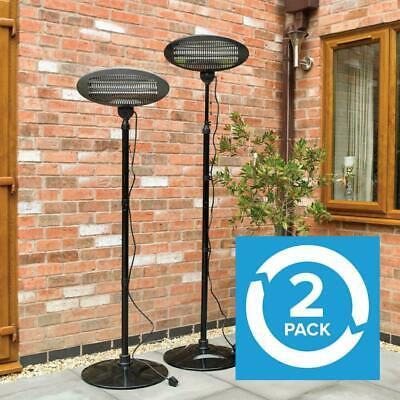 2 Electric 2Kw Freestanding Quartz Heater Garden Patio Heating Outdoor Wido