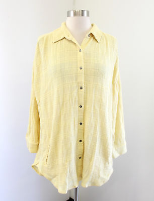 1453aaa700c Soft Surroundings Yellow Gauzy Button Front Tunic Shirt Blouse Size SP PS
