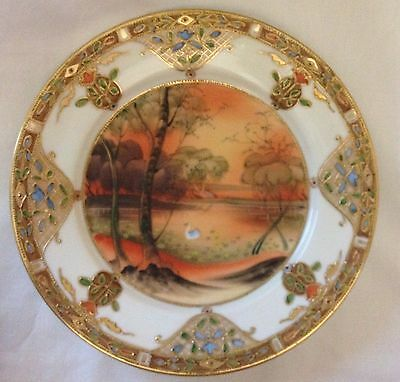 """Antique Nippon Hand Painted Enamel and Raised Gold - 7.5"""" Plate"""