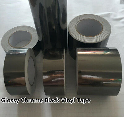 Glossy Mirror Chrome Black Vinyl Tape , Automotive Grade Tape Car Wrap Film DIY