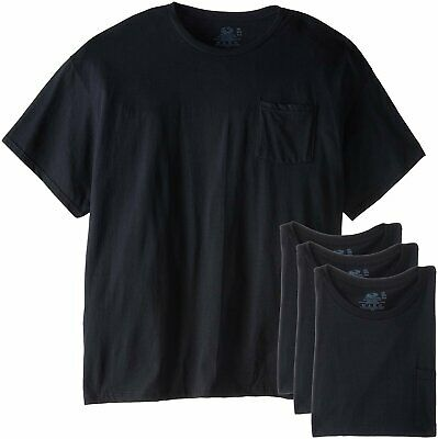 Fruit of the Loom Men's Pocket T-Shirts L-3X 4-PACK Black or Gray COTTON
