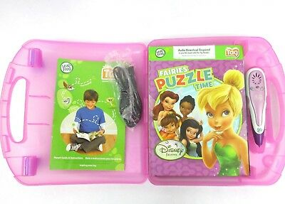 Leap Frog Tag Pen purple 5 Books Pink Case cord Tested WORKS Fairies Diego Nemo