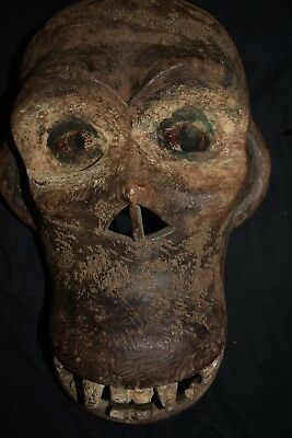 """orig $499-CONGO MASK!! glass eyes EARLY 1900S REAL 16"""" PROV."""