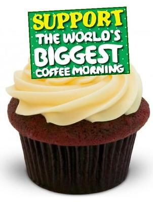 MACMILLAN SUPPORT COFFEE MORNING - 12 Edible Stand Up Premium Wafer Cake Toppers
