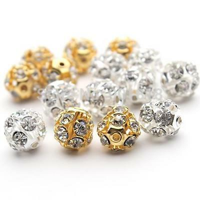 Diy Round Beads Pave Crystal Charm Jewelry Cute Disco Ball Style Accessory 30pcs