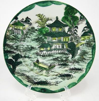 Antique Japanese Hand Painted Famille Verte (Green) Plate