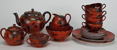 Collection of Antique Japanese Eiraku Kutani Red Ware