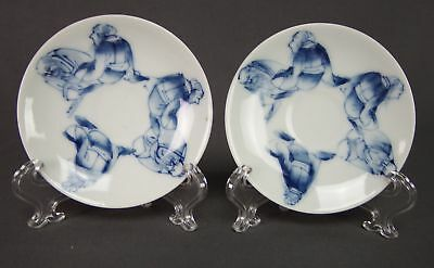 Pair of Hand Painted Japanese Blue & White Small Plates Elders