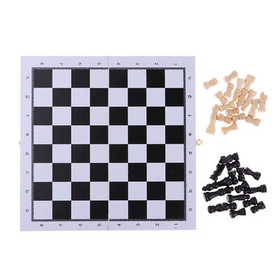 Portable Chess Accessories Wooden Folding Chessboard & 32 Wood Chess Pieces