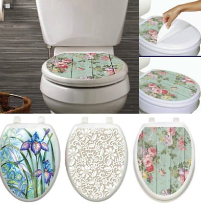 Swell Toilet Tattoos Elongated Seat Cover Skin Choose Floral Iris Pdpeps Interior Chair Design Pdpepsorg