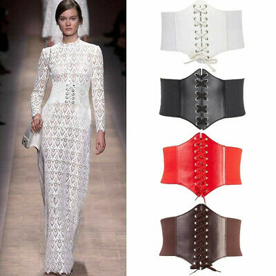 492f653bf3 Lady Waist Cincher Wide Band Elastic Tied Waspie Corset Leather Belt Uk  Stock