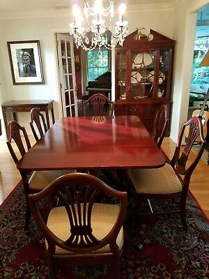 Solid Cherry Wood Dining Room Set: Table, Breakfront U0026 Hutch