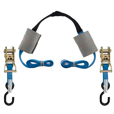 Motorcycle Handlebar Tie Down Assembly Ratchet Harness Transport Strap Blue