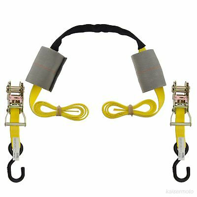 Motorcycle Handlebar Tie Down Assembly Ratchet Harness Transport Strap Yellow