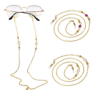 Metal Crystal Eyeglass Cord Reading Glasses Spectacles Chain Holder Gold