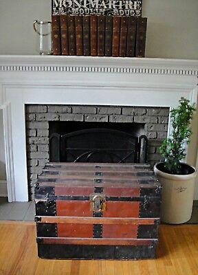 Antique Flat Top Steamer Trunk Foot Locker Coffee Table Blanket Chest Steamer