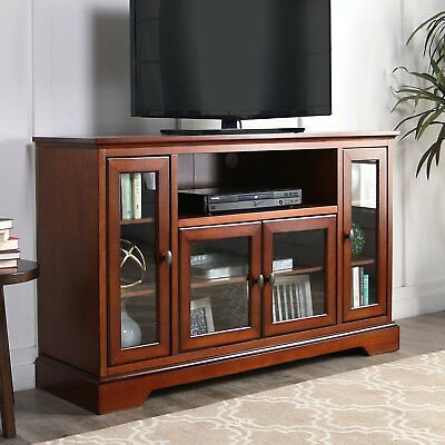 52in Wood Tv Media Stand Rustic Brown Highboy Cabinet Decor Display Console Home