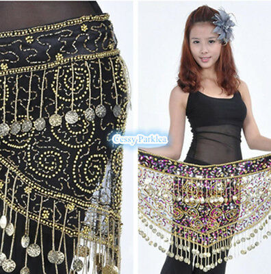Belly Dance Tassel Hip Scarf Sequins Waist Wrap Belt Bollywood Costume Accessory